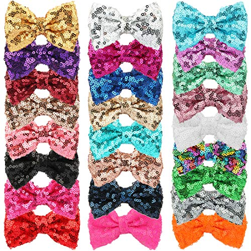 XIMA 25pcs Sequin Hairbows With Alligator Clips Girl Hair Accessory 3