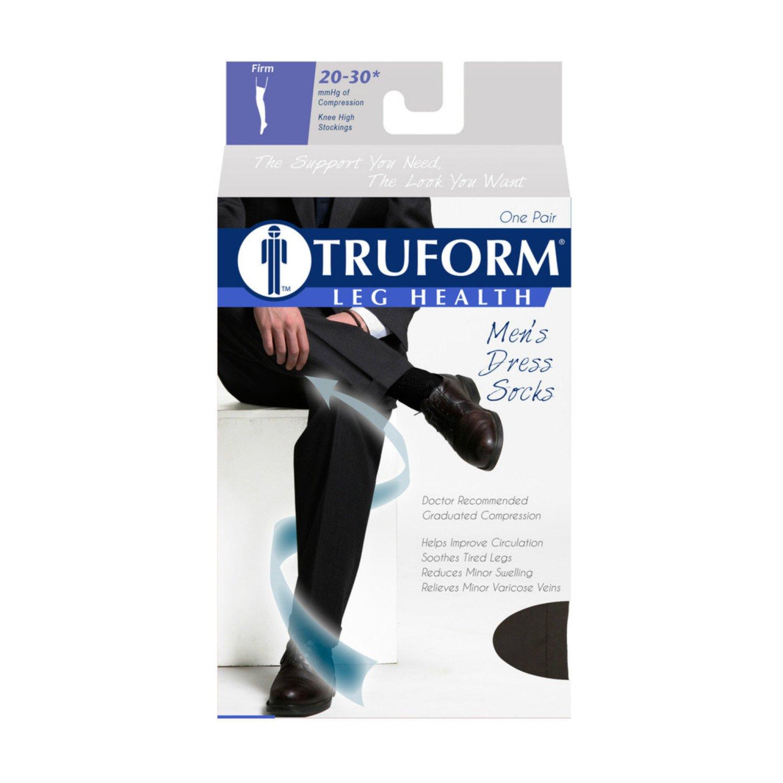 Amazon.com: Truform Mens Knee High 20-30 mmHg Compression Dress Socks, Black, Small: Health & Personal Care