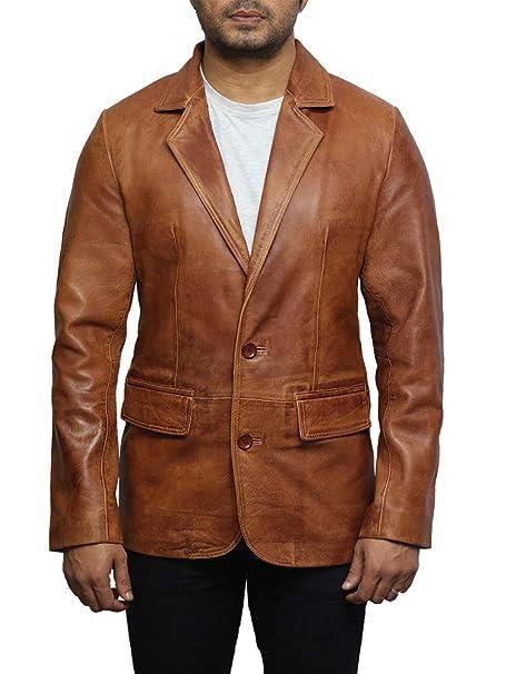 Brandslock Mens Leather Blazer Genuine Lamb Skin