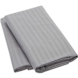 Mellanni Striped Luxury Pillowcase Set - Brushed Microfiber 1800 Bedding - Wrinkle, Fade, Stain Resistant - Hypoallergenic (Set of 2 Standard Size, Striped Gray/Silver)