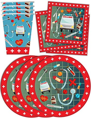Medical- Doctor & Nurse Birthday Party Supplies Set Plates Napkins Cups Tableware Kit for (Nurse Party)