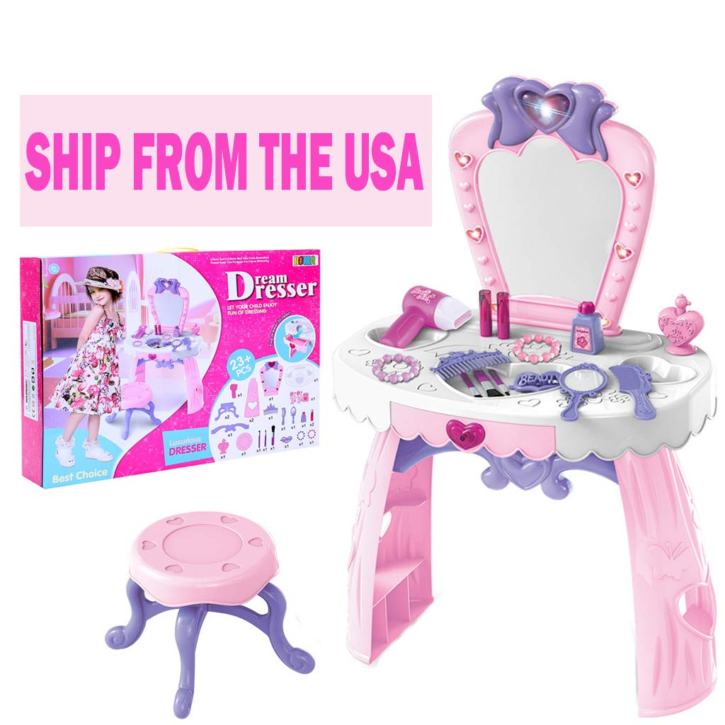 Miklan Pretend Play Kids Vanity Table and Chair Beauty Play Set with Fashion & Makeup Accessories for Girls