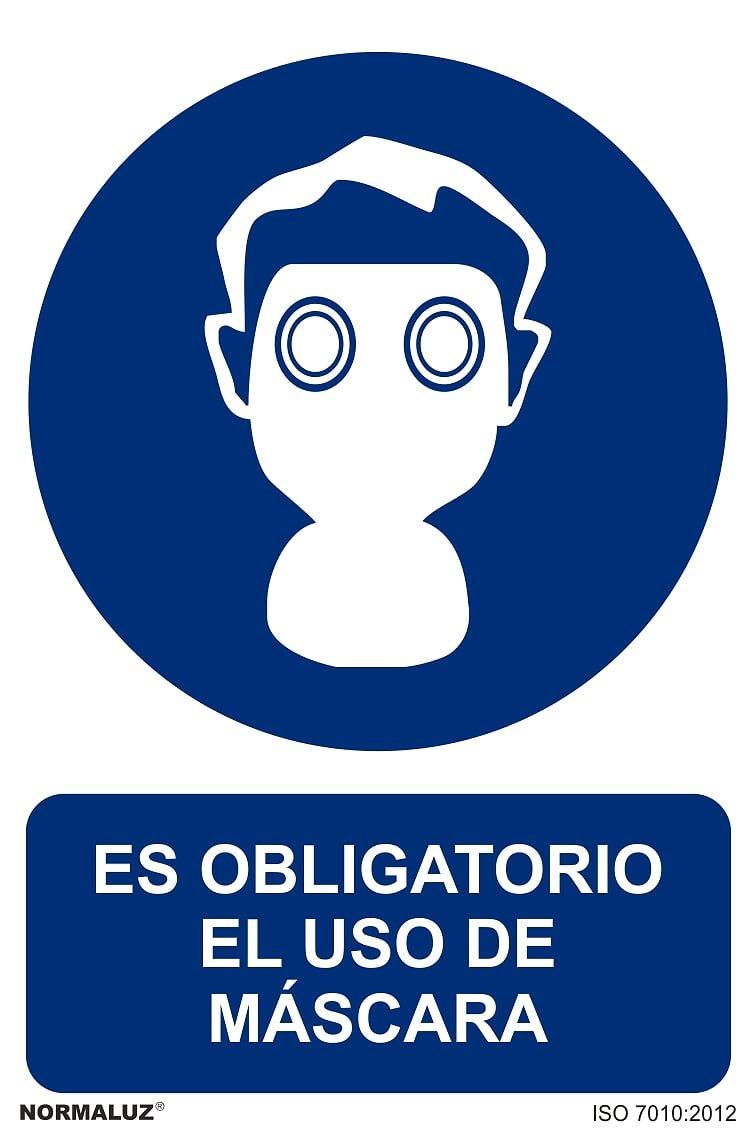 Se/ñal Es Obligatorio El Uso de Mascara PVC Glasspack 0,7mm 30x40 cm Normaluz RD21007