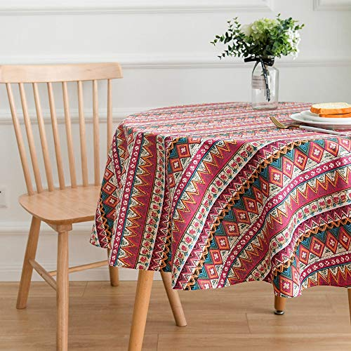 Lahome Bohemian Geometric Design Round Tablecloth – Cotton Linen Washable Table Cover for Kitchen Dining Room Restaurant Party Decoration (Red, Round – 60″)