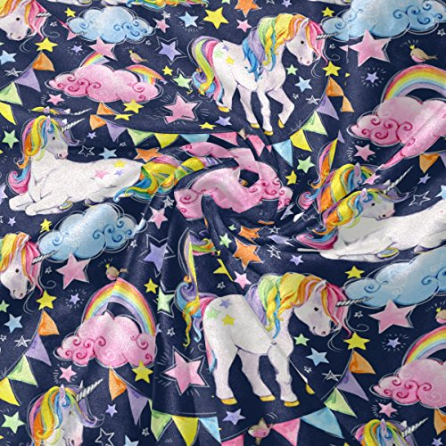 Blankets Rainbow Unicorn Fantasy Animal Crystal Velvet Throw Blanket Bed 50 x 60 inch Kids Baby Girls Colorful Painting Couch Blanket Throw Decor by ALAZA (Image #2)