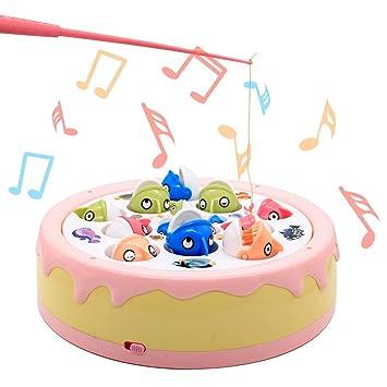 jerryvon Juego de Pesca de Pastel Mesa Juguetes con Música Spin ...