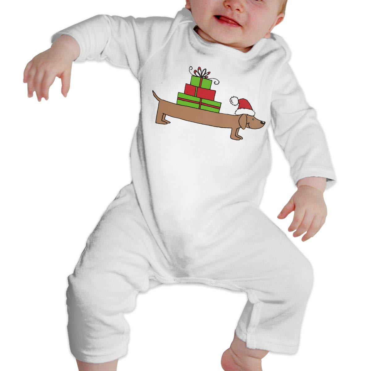 A1BY-5US Newborn Baby Boys Girls Cotton Long Sleeve Christmas Dachshund Clipart Jumpsuit Romper One-Piece Romper Clothes