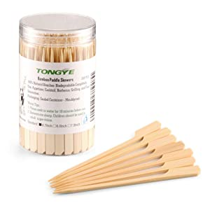 TONGYE Bamboo Paddle Skewers 4.7 Inch with Clear Cylinder, Premium Cocktail Picks, Barbecue Stick. Decoration for Party Food, Appetizer, Dessert, Fruit, Sausage, Burger, Prawn, Kebab. (200 PCS)