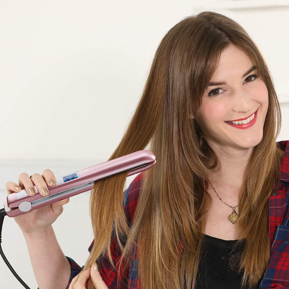 KIPOZI Flat Iron 1 Inch Titanium Plates Pro Hair Straightener with Adjustable Temperature Suitable for All Hair Types Makes Hair Shiny and Silky Heats Up Fast Dual Voltage Rose Pink by KIPOZI (Image #7)