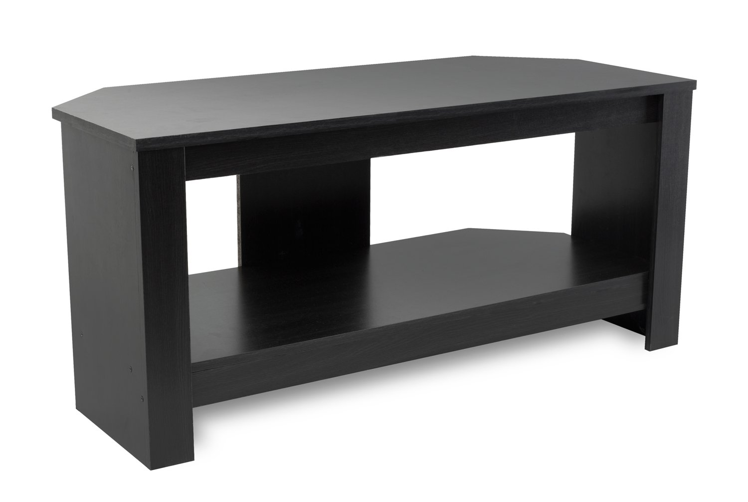 Mount-It Wood TV Stand and Storage Console for 32, 35, 37 Inch Flat Screen TVs, 35 Lbs Capacity, Black