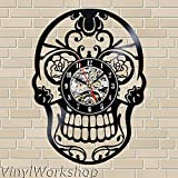 Skull Vinyl Wall Clock 12 in(30cm) Black Decor Modern Decorative Vinyl Record Wall Clock This Clock Is A Unique Gift To Your Friends And Family For Any Occasion For Sale
