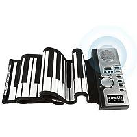 JouerNow Tragbares 61 Tasten Roll-Up Klavier USB MIDI Elektronische Soft-Tastatur Handrolles Rollpiano Silber DC 6V