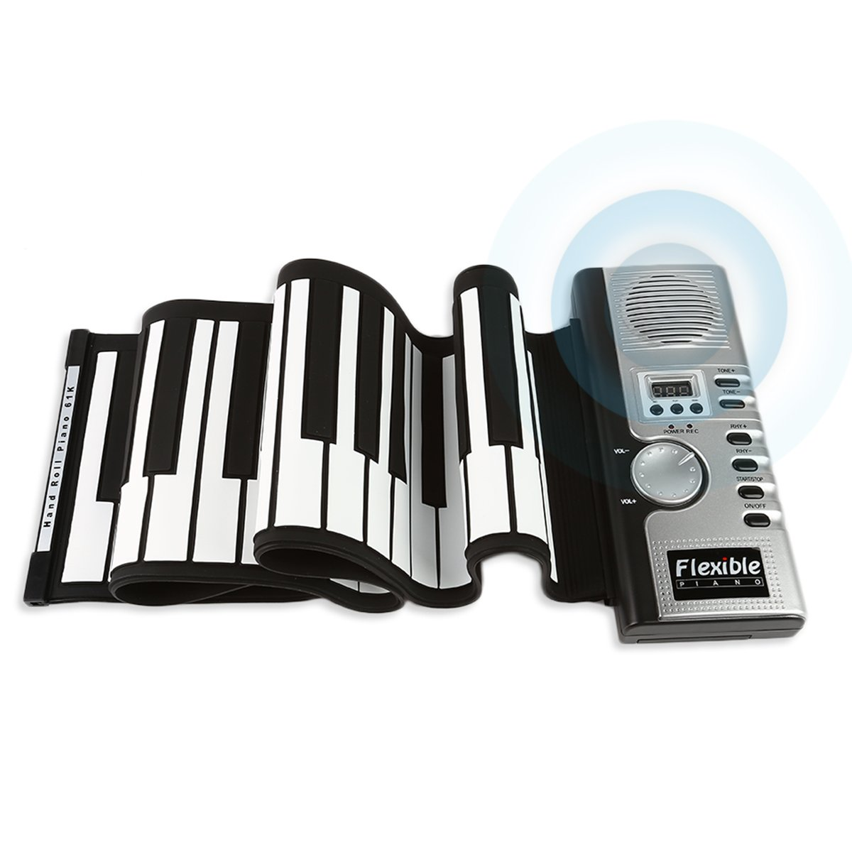 JouerNow RUP001 61 Thickened-Keys Roll Up Piano, Multifunctional Electronic Digital Synthesizer, Battery-Operated, with Built-in Speaker/ Headphone Output 27-013-401-ECBU
