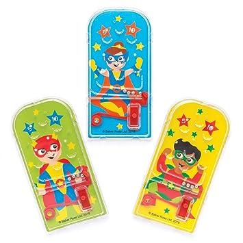 Baker Ross- Juegos de Pinball de superhéroes (Pack de 8) Bolsas Sorpresa para niños, Fiestas de Halloween, Relleno de piñata o Regalo de cumpleaños
