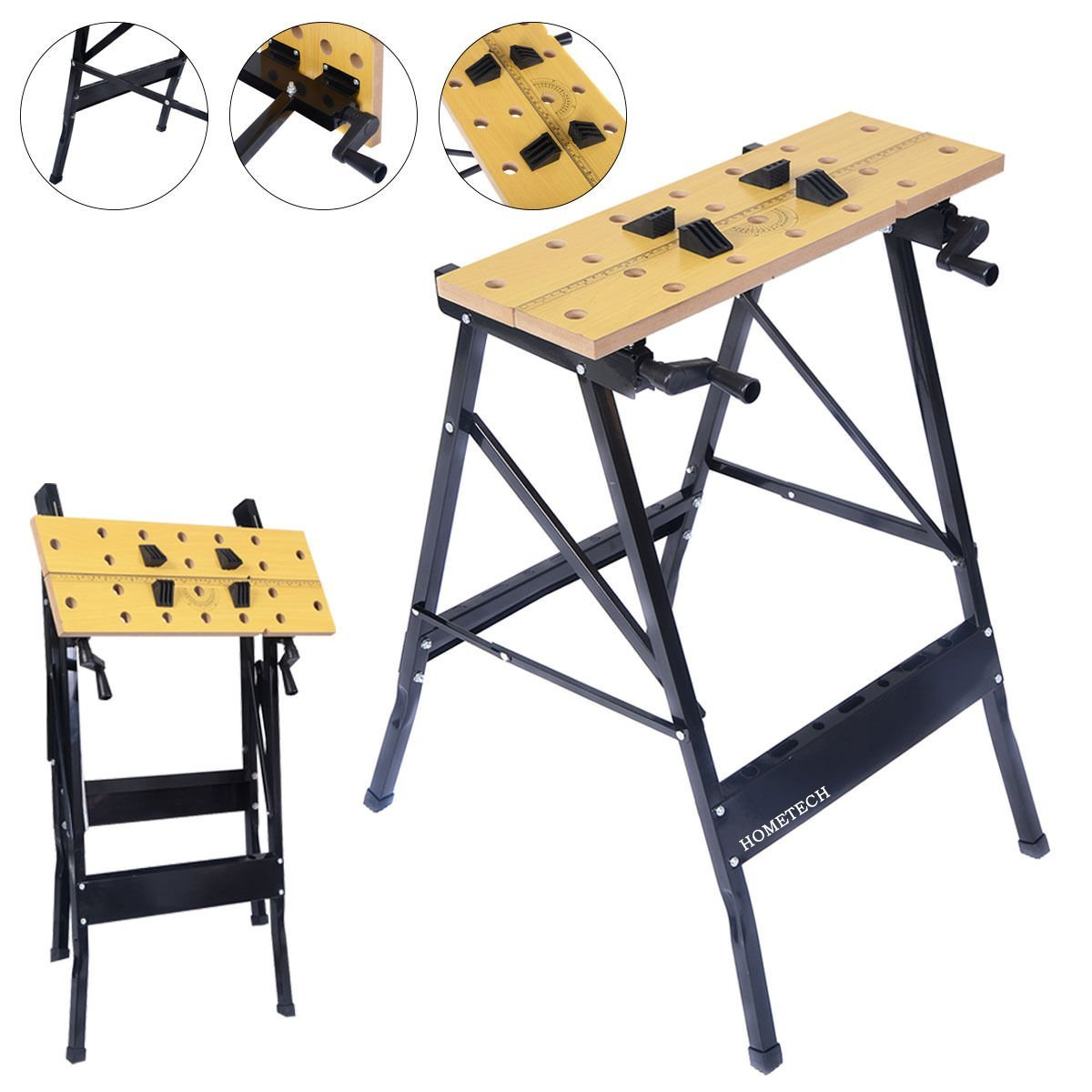 Multi Purpose Steel Wood Folding Work Bench Table Tool Workbench and Sawhorse Compact Clamps Portable Lightweight Fold Storage Garage Repair Workshop Station Clamping Painting Cutting Home Adjustable