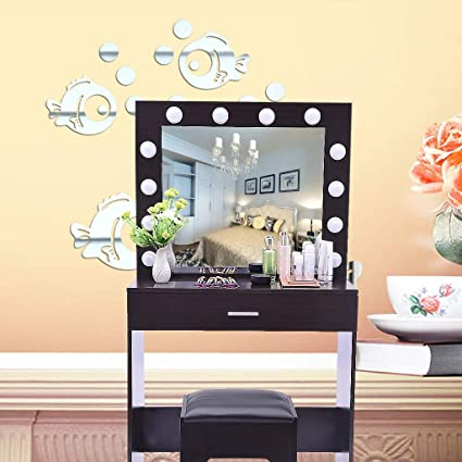 Girl Lady Makeup Vanity Dressing Table Set Dresser Desk With Mirror/& 10Led Bulbs