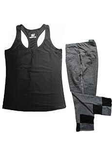 60e2a32840c558 Women's Athletic Racer Back Tank Top & Skinny Yoga Capri Leggings Set