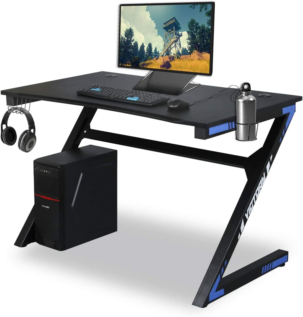 Amazon Com Kazila Gaming Desk Computer Table For Home Office Sturdy Desk With Cup Holder Headphone Hook Gamer Workstation Laptop Pc Desk Blue Kitchen Dining