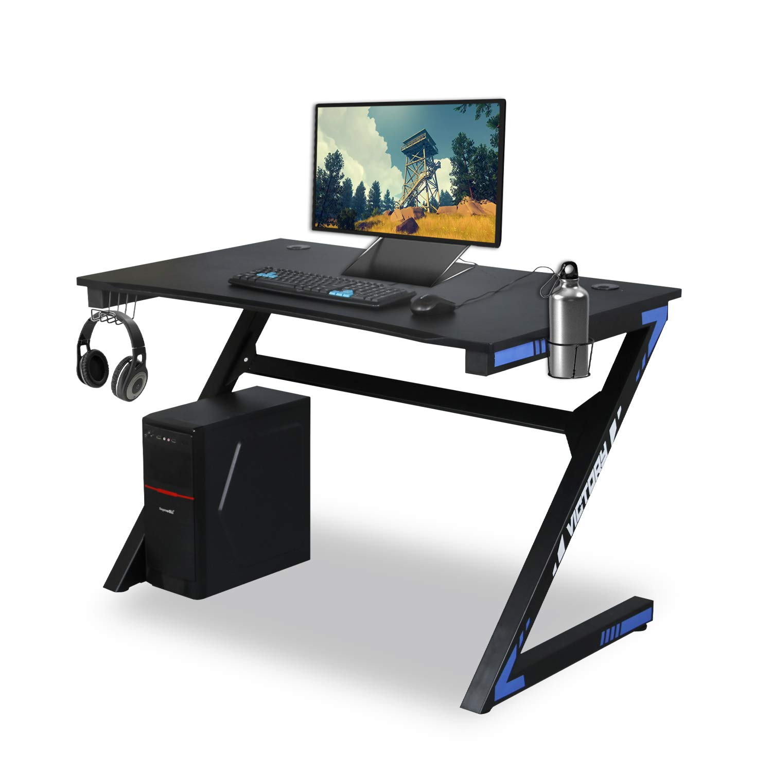 Kazila Gaming Desk Computer Table for Home Office Sturdy Desk with Cup Holder, Headphone Hook Gamer Workstation Laptop PC Desk,Blue