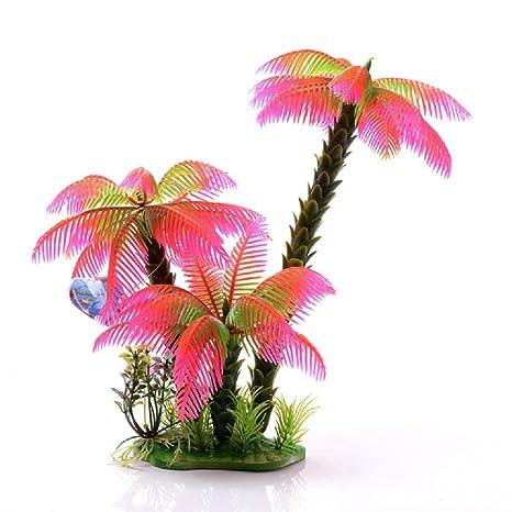 JUZIPI Decoración para Acuario con Acuario (3 Coco, árboles Rosas y Plantas, Decoración