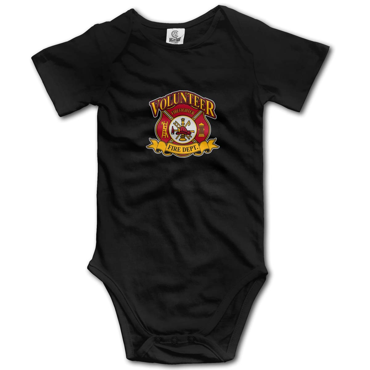 Coollifea Firefighter Volunteer Baby Romper 0-18 Months Newborn Baby Girls Boys Layette Rompers Black