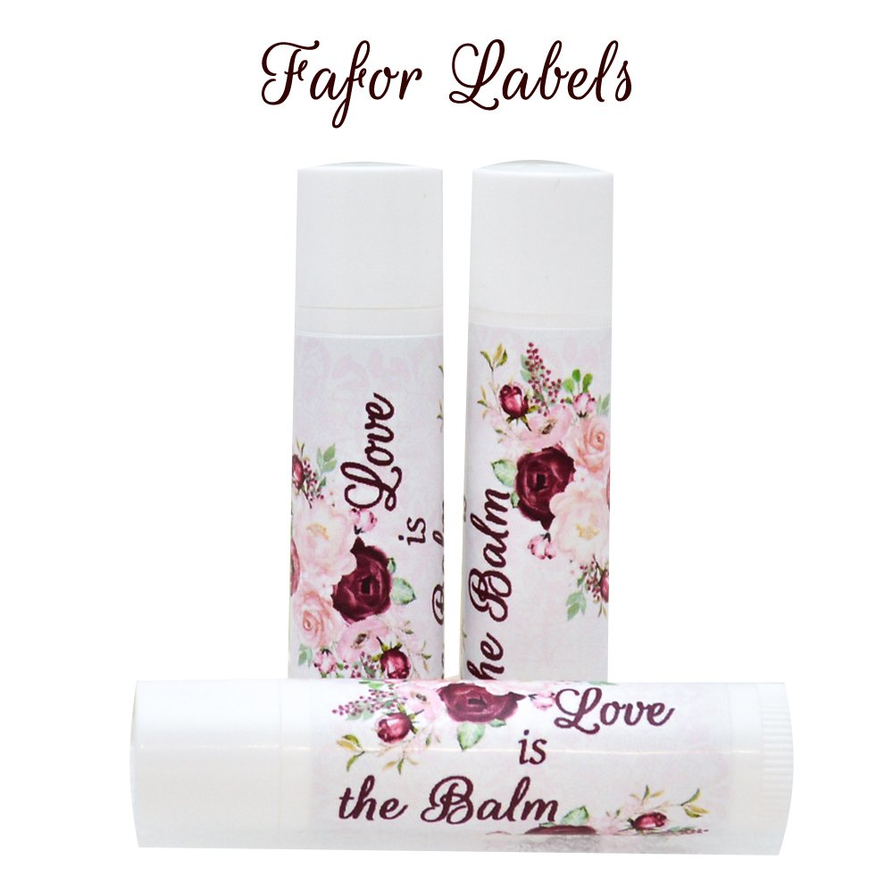 30 Wedding Chapstick Labels, Burgundy Floral Lip Balm Stickers, Wedding Lip Balm Labels