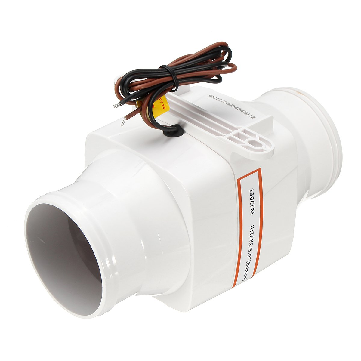 HITSAN INCORPORATION 3 Inch in Line Air Blower Boat Bilge Engine Galley Marine Ventilation Fan 12V 130CFM G1185180