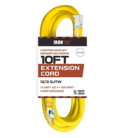 10 foot lighted outdoor extension cord 12 3 sjtw heavy duty yellow10 foot lighted outdoor extension cord 12 3 sjtw heavy duty yellow extension cable