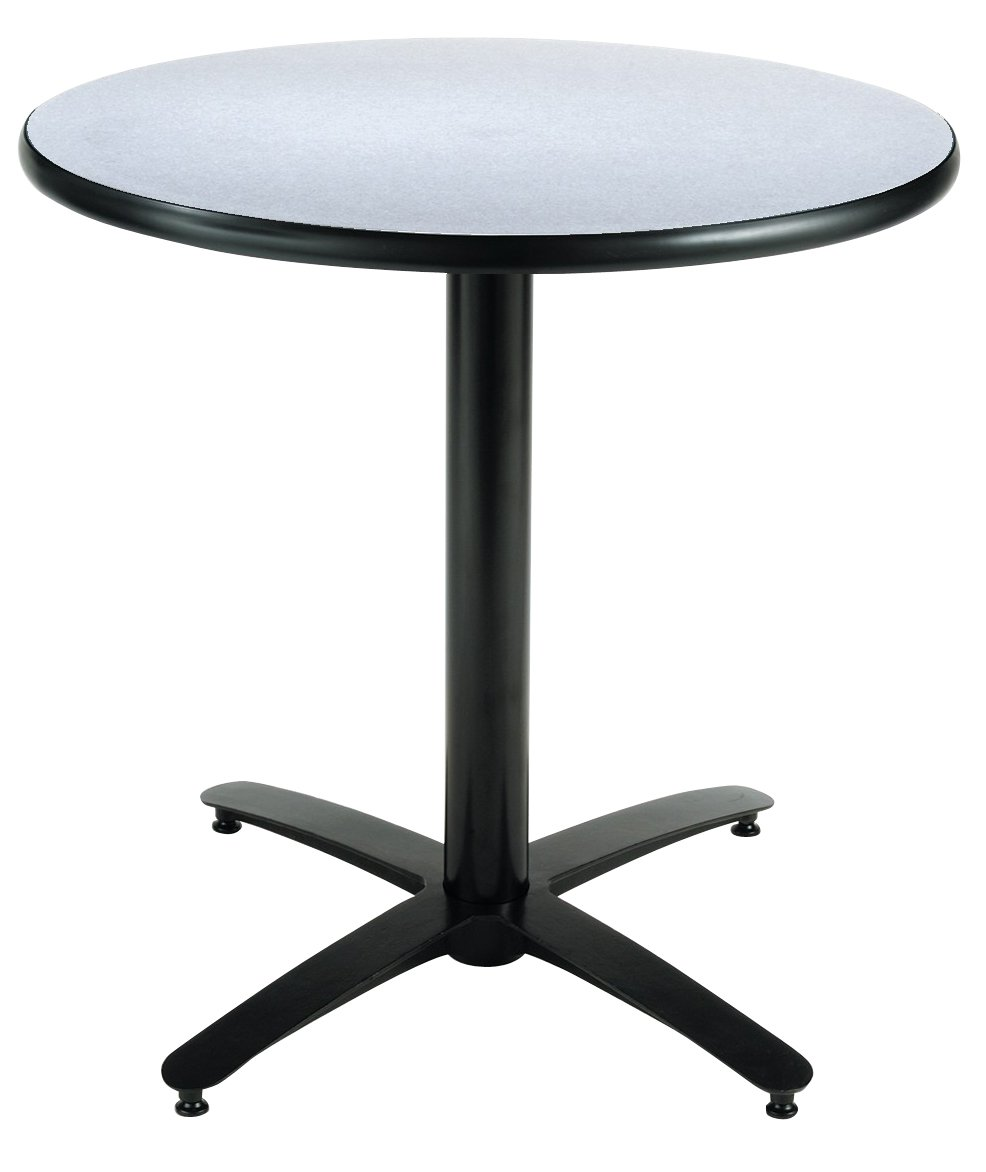 KFI Seating Round Pedestal Table with Arched X Base, Commercial Grade, 30-Inch, Grey Nebula Laminate, Made in the USA