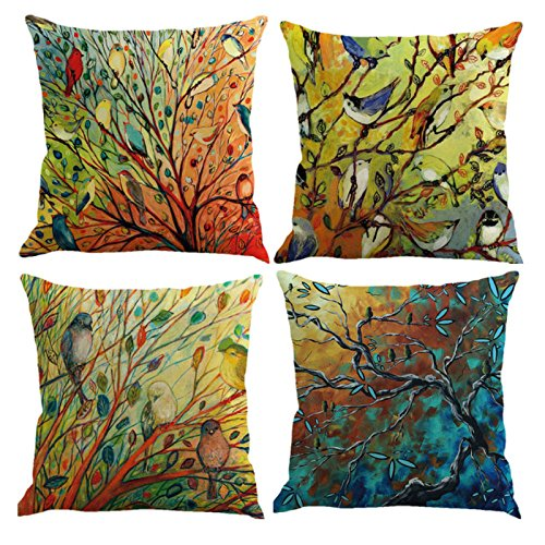 18' Tailored Throw Pillow - Ammmybeddings Cotton Linen Square Decorative Throw Pillow Case Cushion Cover with The Illustion of Vivid Birds & Blooming Trees in Spring 18x18 Inch,No Fitted