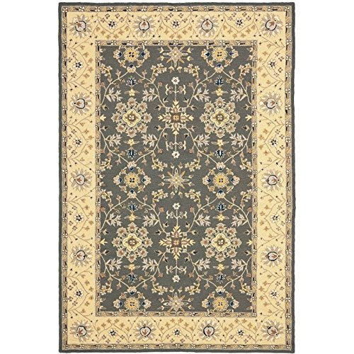 Safavieh Easy to Care Collection EZC751H Hand-Hooked Grey and Cream Area Rug (8' x 10')