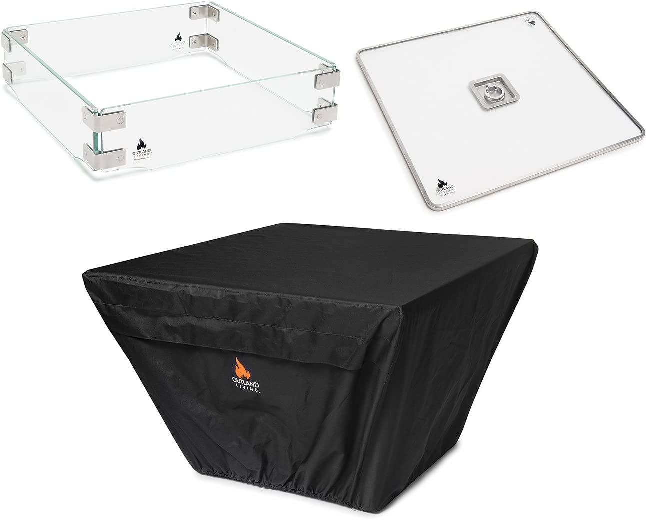 Outland Fire Table 3 Piece Square Accessory Set of Tempered Glass Lid Insert, Tempered Glass Wind Guard Fence, and UV Water Resistant Durable Cover for 36-Inch Square Series 410 Propane Fire Tables