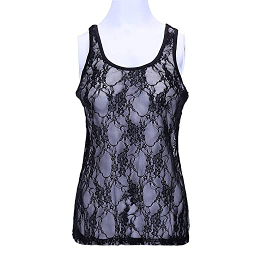 84e46b5cc13b57 Vinctik 6 Fox Women s Sleeveless O Neck Lace Crochet Mesh Sheer See Through  Vest Tank Tops Casual