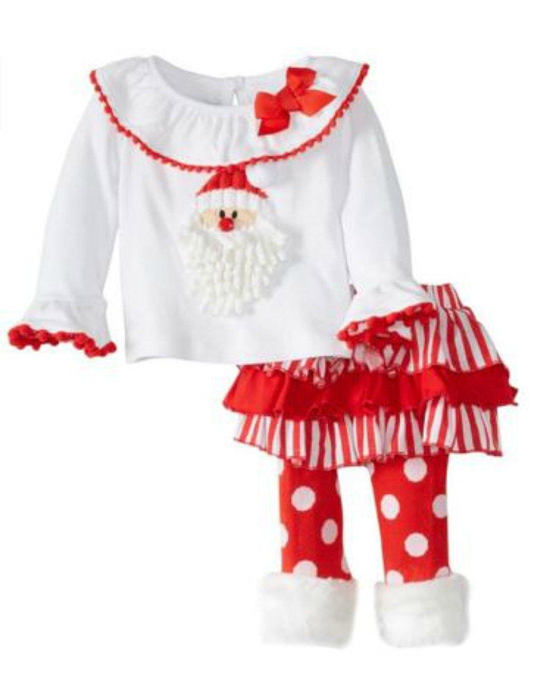 名作 Mud Pie Little Girls Girls B01924S51A ' Santa ' Babyスカートセット 3T ホワイト/レッド B01924S51A, ヒラツカシ:b5b8773f --- quiltersinfo.yarnslave.com