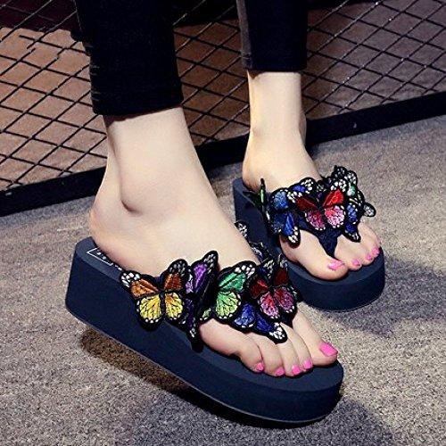 Zapatillas Grueso con Chanclas Verano Zapatos Mariposas Y Antideslizantes Pendiente Romanos Mujer Sandalias De Estilo Playa Zapatillas con Fondo Zapatos Bordadas De De A con Casuales CHENGXIAOXUAN PzqTRwXR