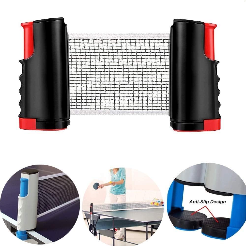 GTKY Red Tenis Mesa retráctil, Estante Profesional Red Poste Ping Pong, Red Tenis Mesa y Juegos Postes con Extensible para Cualquier Entrenamiento Entretenimiento Familiar Mesa (Red and Black,1PCS)