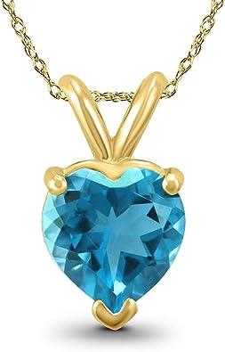 10K Blue Topaz Cabochon Cage Heart Romantic Pendant Yellow Gold