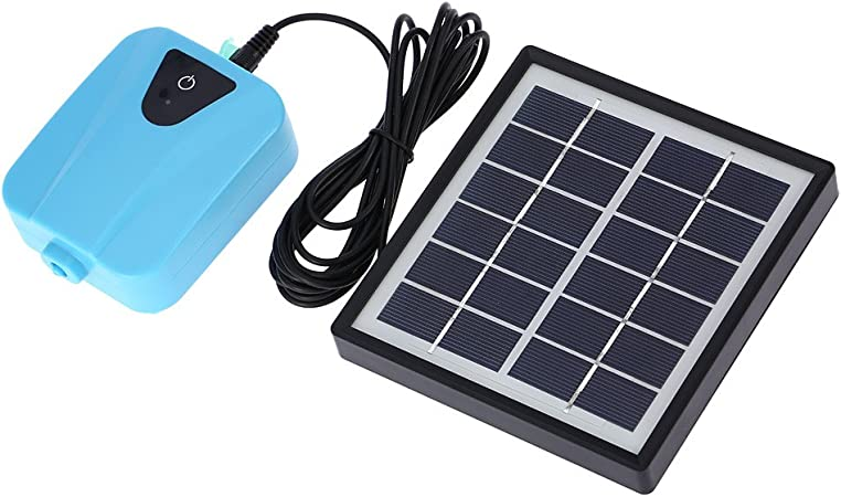 Bedler Solar Powered//DC Charging Oxygenator Water Oxygen Pump Pond Aerator with 1 Air Stone Aquarium Airpump 2L//min Oxygen Pump for Aquarium