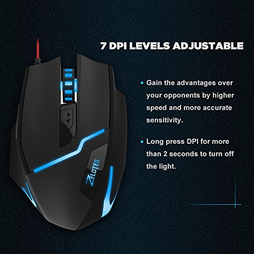 Zelotes-Gaming-Mouse-USB-Adjustable-7200-DPI-Ergonomic-Professional-Optical-Gaming-Mouse-7-Buttons-Mice-for-Pad-Laptop-Notebook-PC-Macbook-Microsoft-7-Soothing-LED-Colors-Gaming-Mouse-for-Pro-Gamer