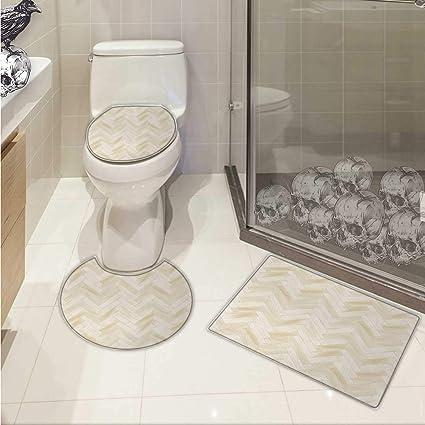 Amazon Com Carl Morris Beige Bath Toilet Mat Set Realistic Wooden