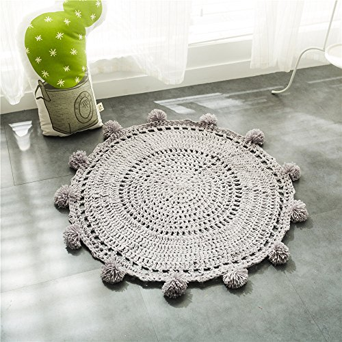 LifeTB Kid's Rugs – Pom Pom Play Mat Handmade Floor Rugs Crochet Blanket Girl's Room Decor – Soft Cotton, Solid Design (Grey)