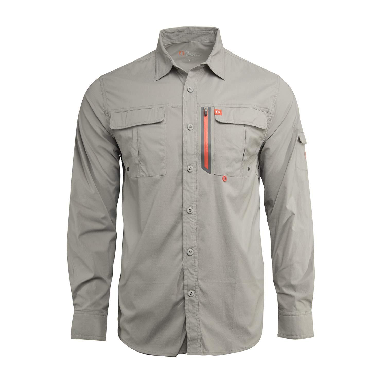American Outdoorsman Men/'s Long-Sleeve Fishing Shirt Blackfoot River Moisture-Wicking Button-Up Clothes//Apparel
