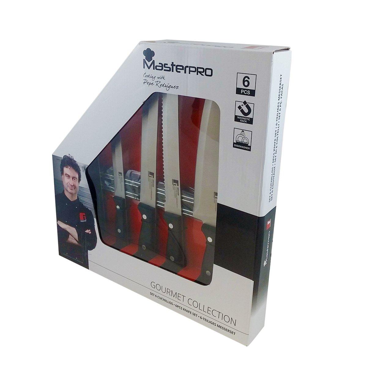 Bergner Q0950 Set de 6 Cuchillos dentados de Acero Inoxidable, Polipropileno, Bicolor: Amazon.es: Hogar