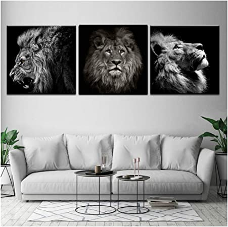 Moderne Noir et Blanc Jungle Animal Sauvage Lion Tigre ...