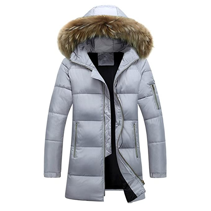 big sale 69d61 b74ae CRAVOG Daunenjacke Herren Mantel Lang Jacke Parka Mit Kapuzen und Fell  Winter Hoodie Warm Hoodie Fellkapuze