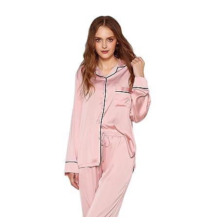Las mujeres Sexy V-cuello pijama rebeca seda casera ropa de manga larga traje de