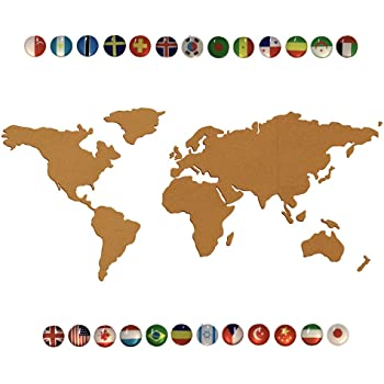 Amazon juvale 15 piece world map cork board with 20 pack push 9swall map cork board of the world made of 2 thickness natural cork board self adhesive world map cork bulletin board with 25pcs national flag pins gumiabroncs Choice Image