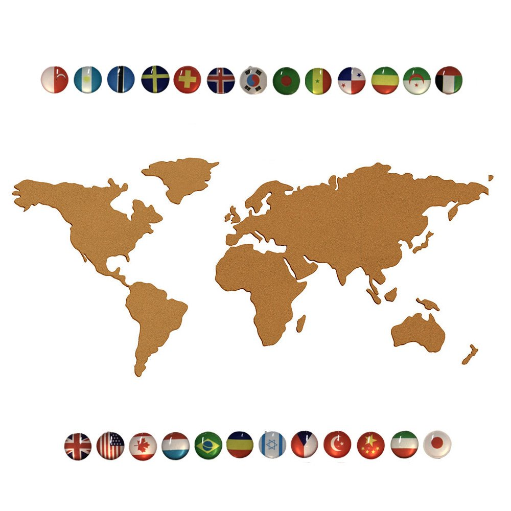 9SWALL NA Map Cork Board Of The World, Made of 2'' Thickness Natural Cork Self Adhesive World Map Cork Bulletin Board With 25pcs National Flag Pins JJC PROMO