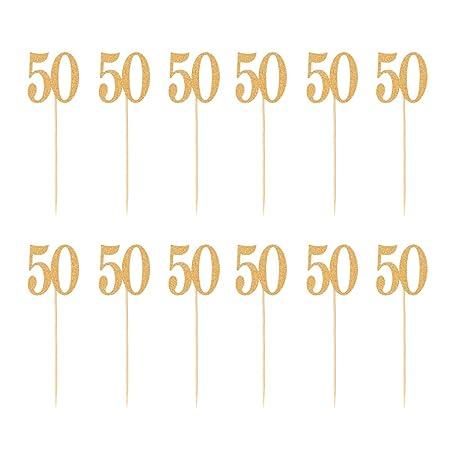 BESTONZON Número 50 Decoraciones de postres con Adornos de ...