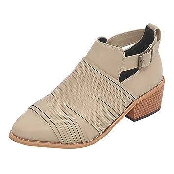 Zapatos del alto talón mujer,Sonnena ❤ Zapatos de mujer Ponted Toe Botines de color puro Hebilla Correa Tacón Cuadrado Zapatos individuales: Amazon.es: ...